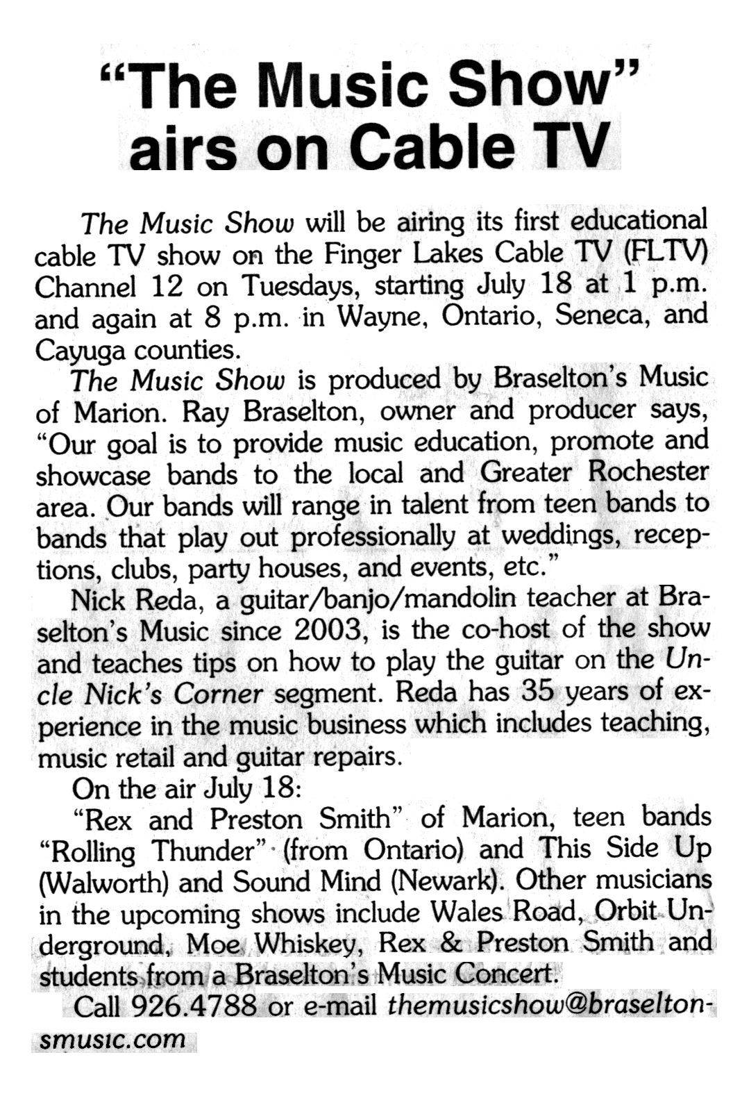 """The Music Show"" Ray Braselton, Nick Reda, Braselton's Music"
