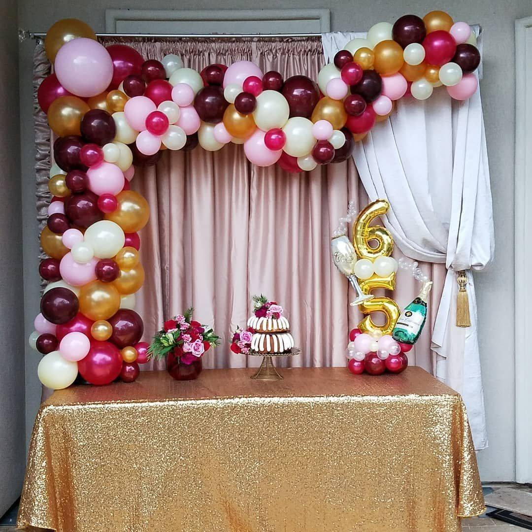 Organic Arch, 65th Birthday, Balloons, Centerpiece, Balloon Arch, Houston, TX, Pink