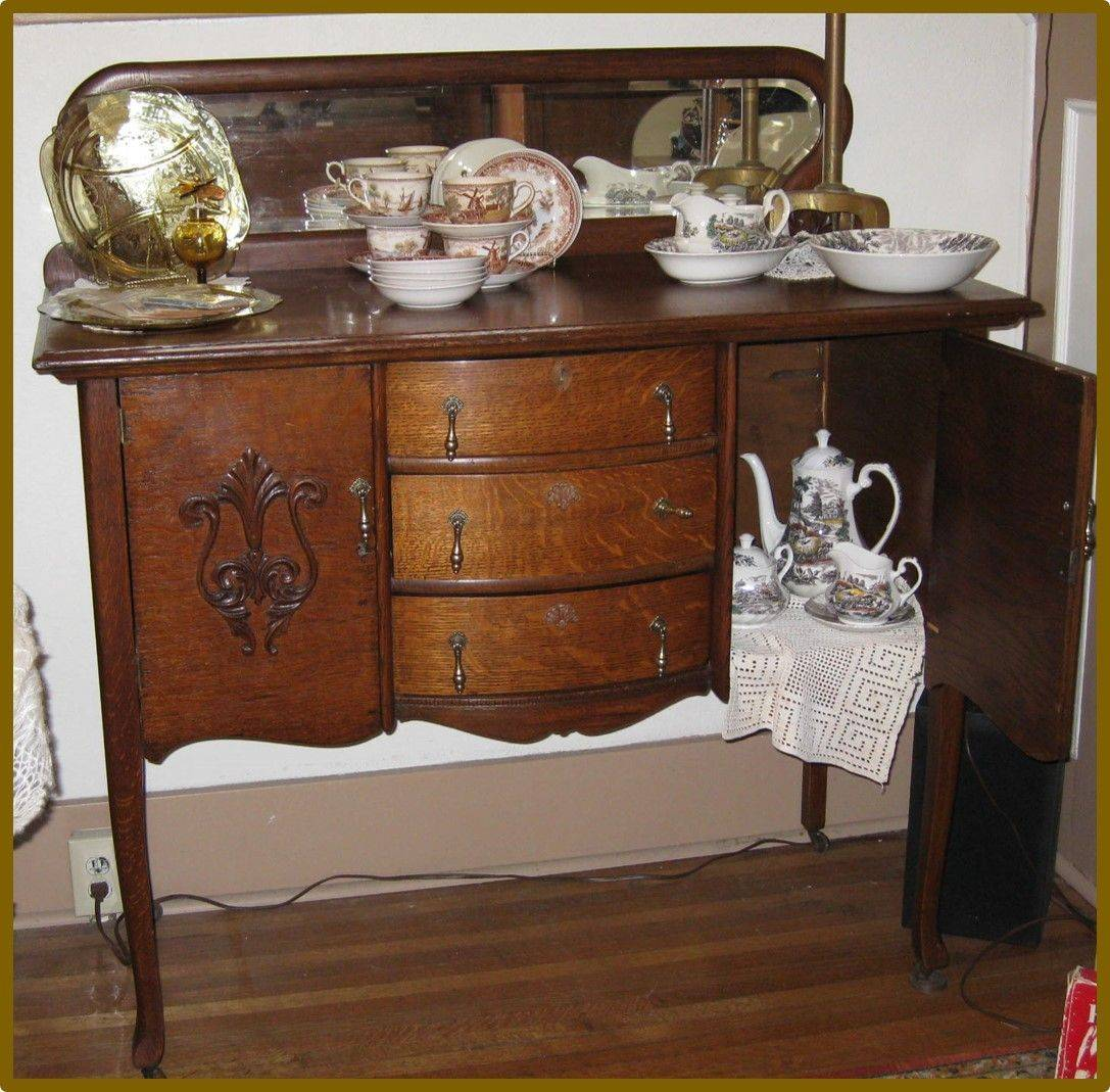 Vintage oak buffet with mirror