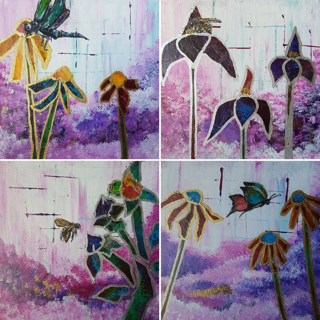 Wild flowers and insectes acrylic on canvas