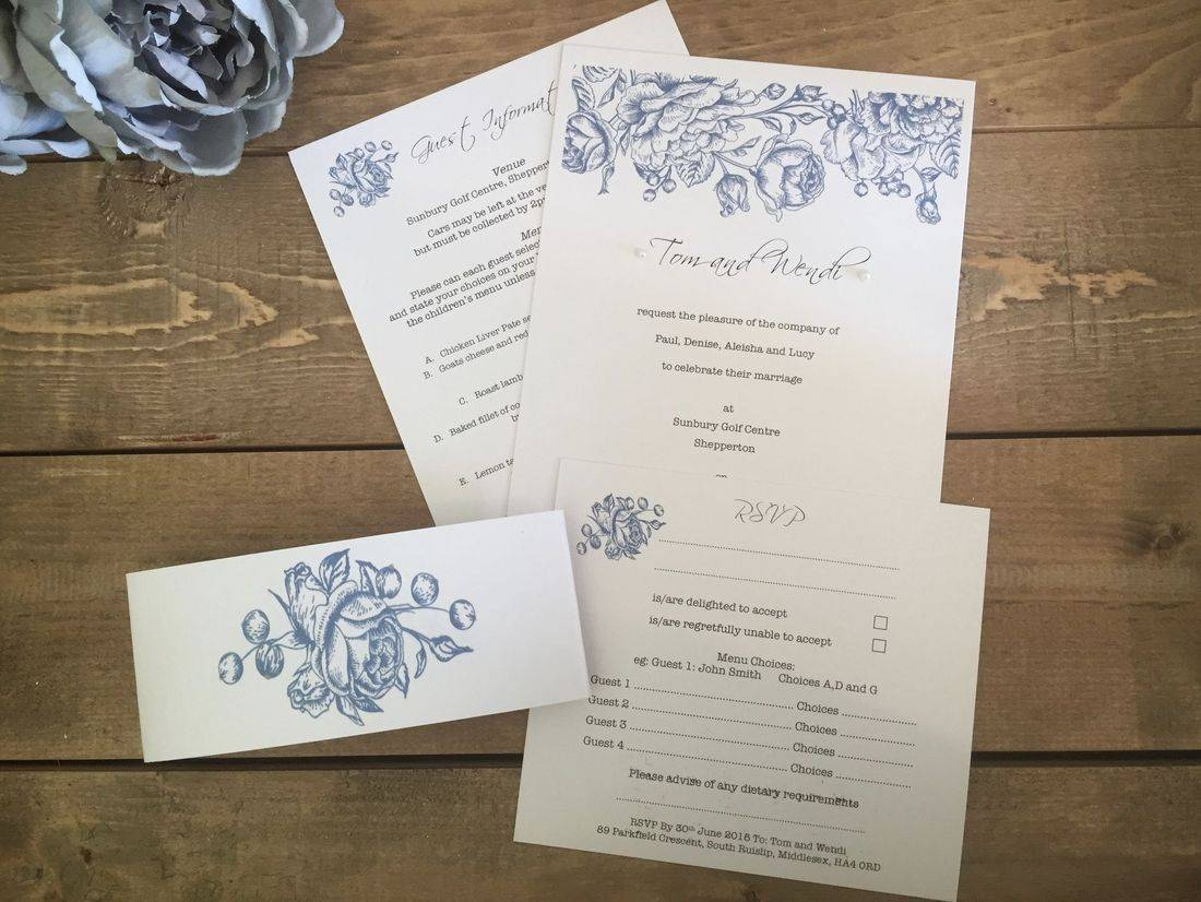 Vintage Wedding Invitation with belly band in Blue