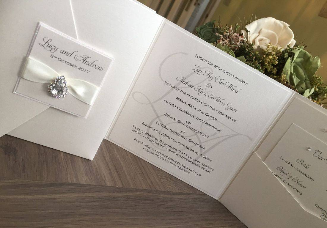Luxury Wedding Invitation with Ivory glitter and crystal