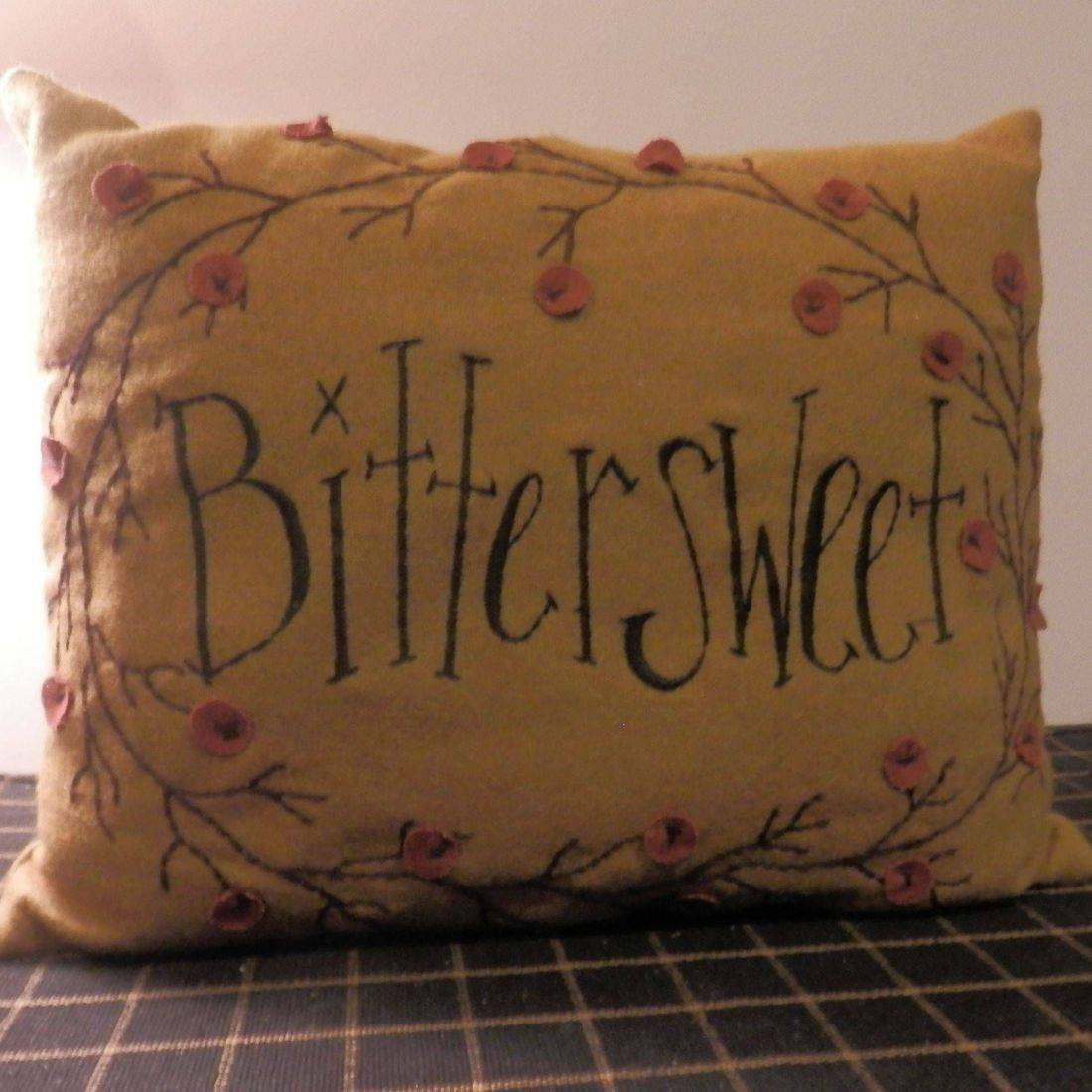 primitive folkart bittersweet pillow