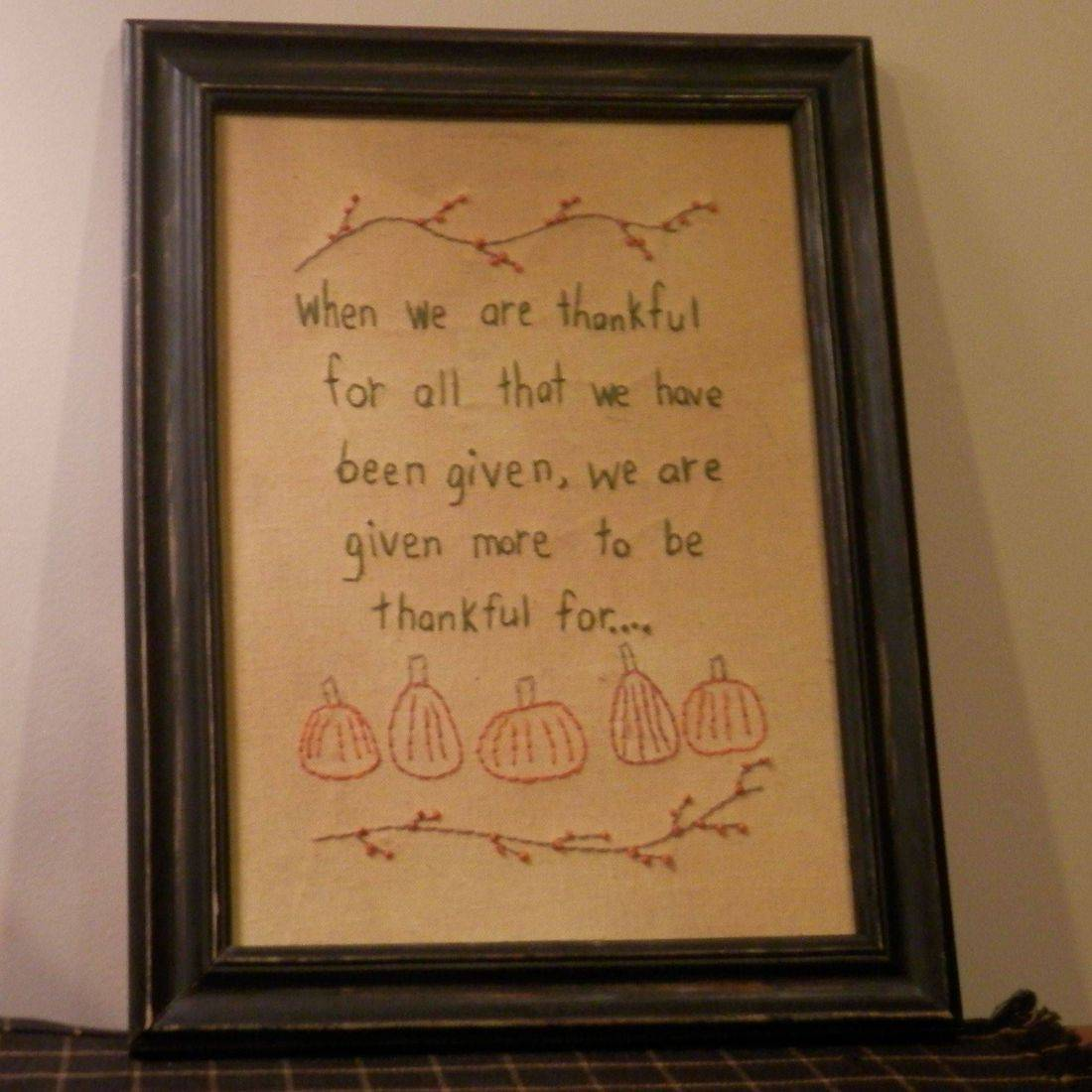primitive framed Thanksgiving stitchery