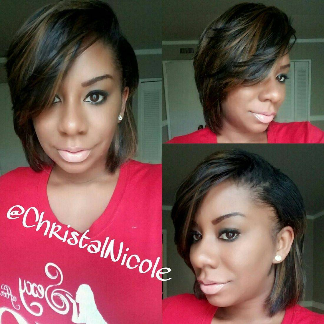 full sew-in with natural side part leave out