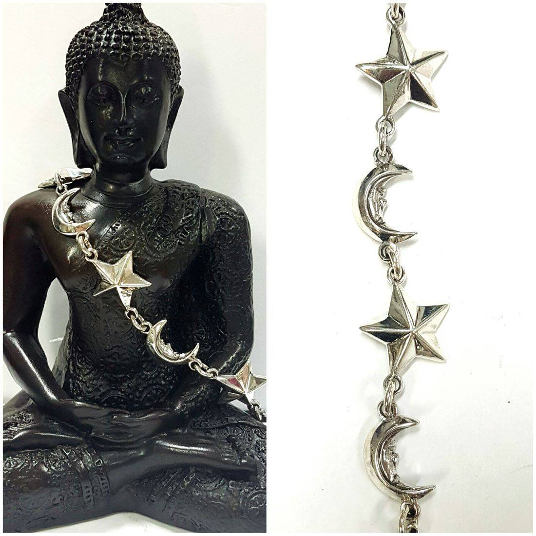 Solid Silver Moon & Stars  Bracelet available at Kazbah online and our Leicester City Centre Shop