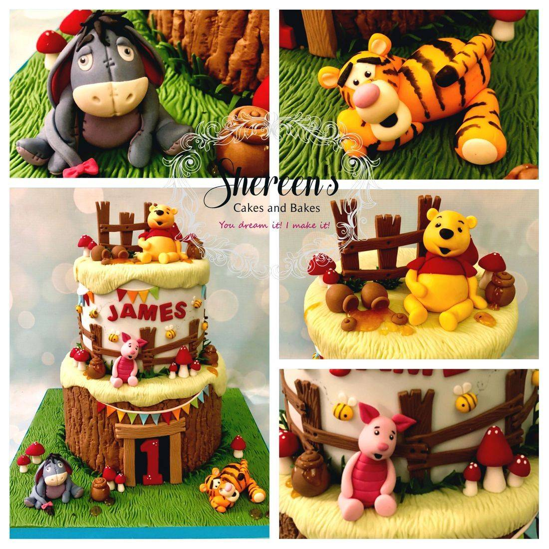 Birthday first cake Pooh bear friends tigger eeyore piglet honey pots toadstools bees bunting