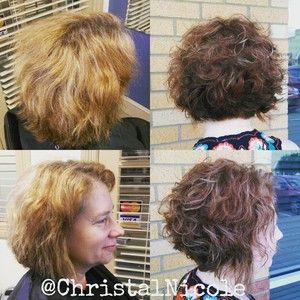 bob haircut with highlights- before and after