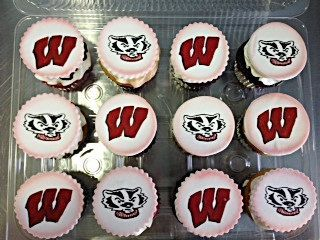 Wisconsin Badgers Bucky Badger Football Custom Cupcake Toppers Milwaukee