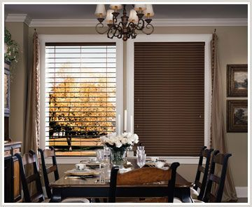 Hunter Douglas Parkland Wood Blinds are an authentic, handrafted premium hardwood blind. Choose from a huge selection of finishes, slat sizes, decorative tapes and specialty shapes.