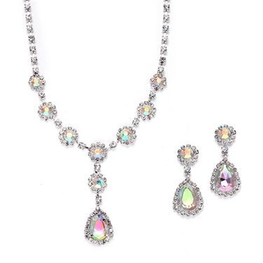 "Genuine crystal rhinestone neck set has bold accents of iridescent AB faux crystal teardrops & rounds. The adj. 15"" - 17 1/2"" necklace plunges 1 3/4"" at the center and the earrings are are 1 1/2"" h. Great set for prom or bridesmaids at a super price!"