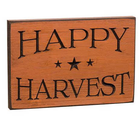 happy harvest engraved wooden sign