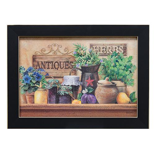 primitive folkart herbs antiques framed print