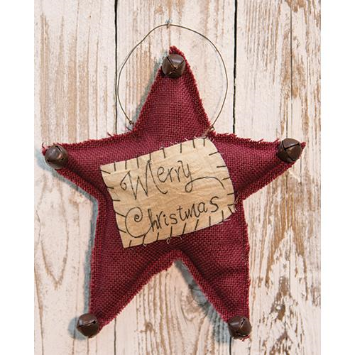 primitive stitched Merry Christmas star