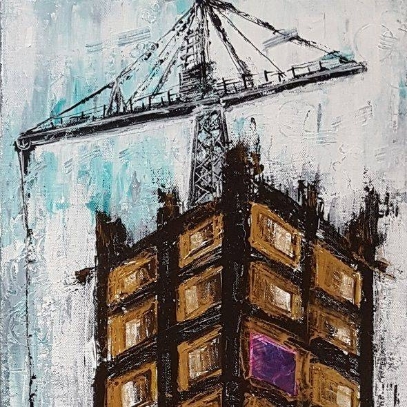 tower architecture city scapes acrylic