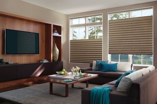 Hunter Douglas Solera soft roman shades with cellular design and top-down, bottom-up option to balance light control and privacy.