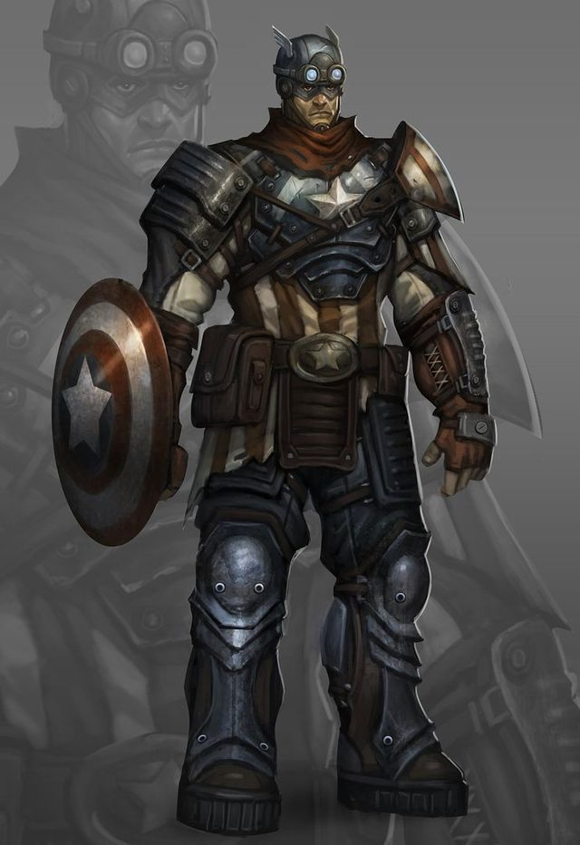 Dieselpunk Captain America Art