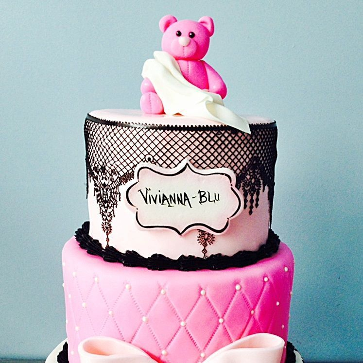 Custom Pink Cheetah Print Bear Cake  Milwaukee