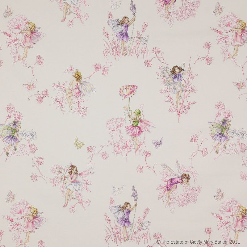 Jane Churchill Meadow Fairy Fabric ~ white