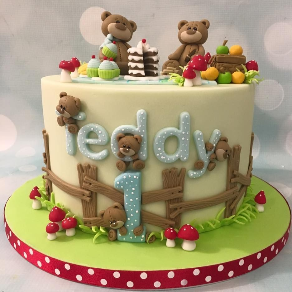 Teddy Bear Picnic Cake Toadstools Cupcakes Fruit 1st Birthday Bear
