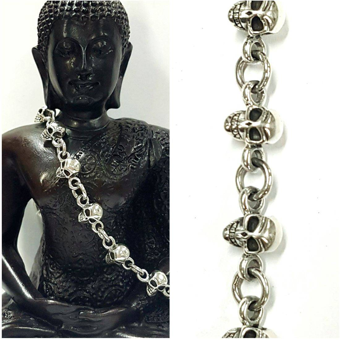 Solid Silver Small Skulls Bracelet  available at Kazbah online and our Leicester City Centre Shop