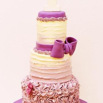 Custom Purple Ombre Rosettes Butterfly first birthday Cake Milwaukee