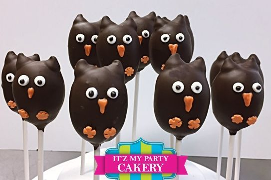 Brown Owl Cake pops Custom cakepopsStars New Year Cake pops