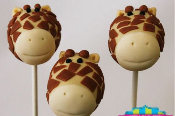 Giraffe Head Cake pops Custom cakepopsStars New Year Cake pops
