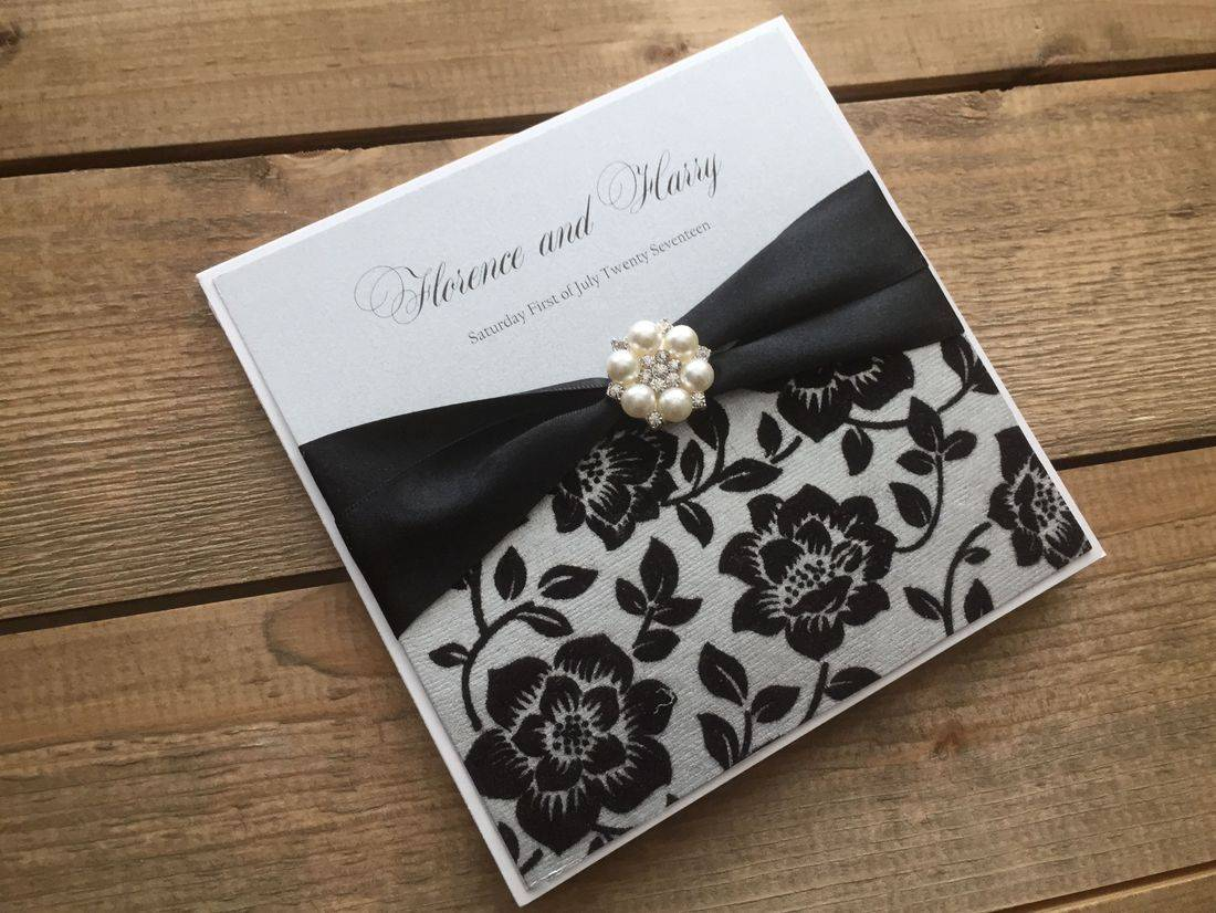 Luxury Wedding Invitation in Black and Silver
