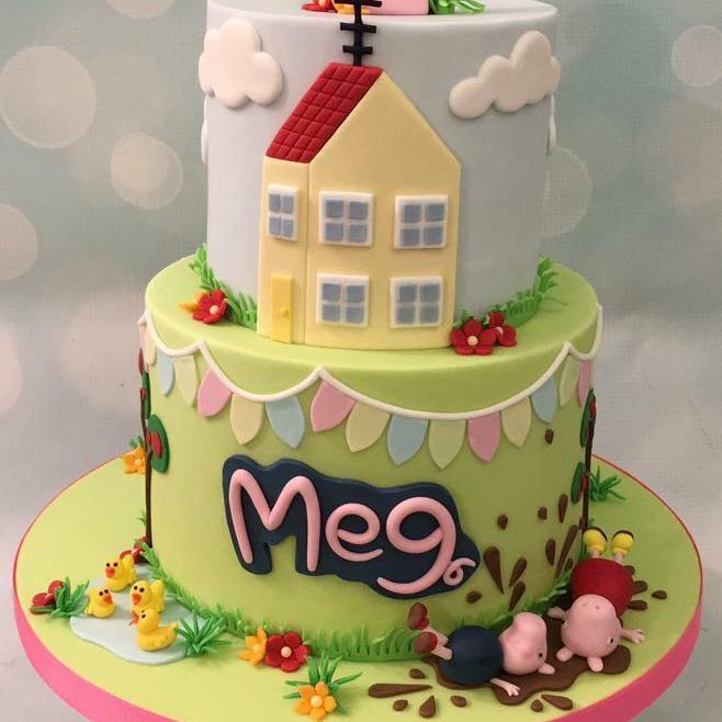 Peppa Pig George Cake Muddy Puddle House Bunting Ducks Pond Grass