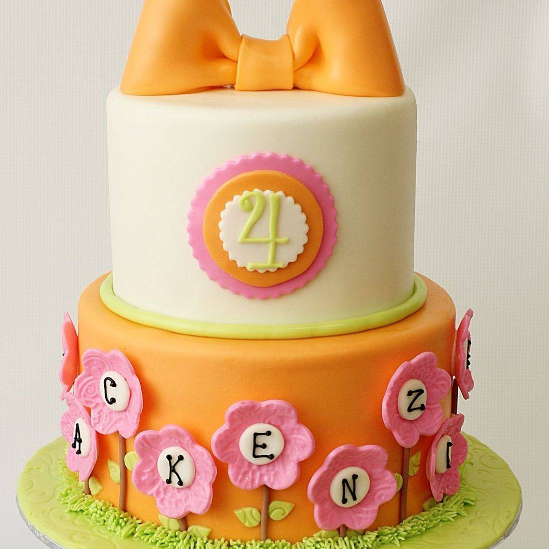 Custom Orange Pink Simple Bow Cake  Milwaukee
