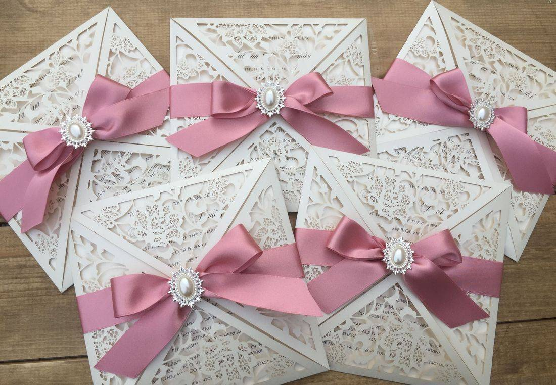 Laser Cut Wedding Invite with Dusky Pink Ribbon