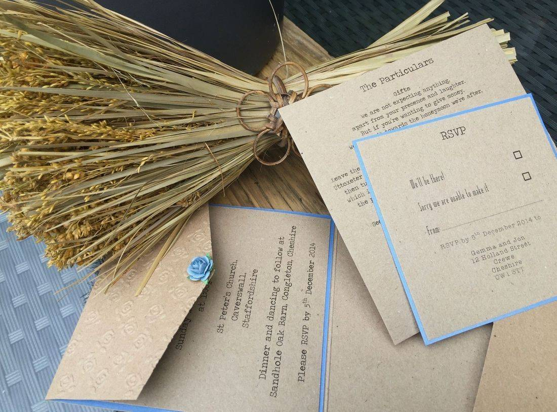 Rustic Wedding Invitation with Rose