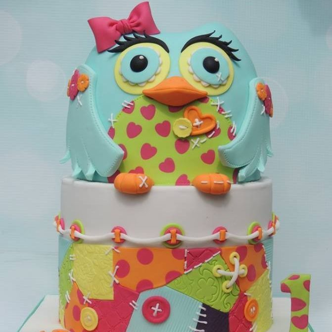 Patchwork Owl Cake Rope String 1st Birthday Bow