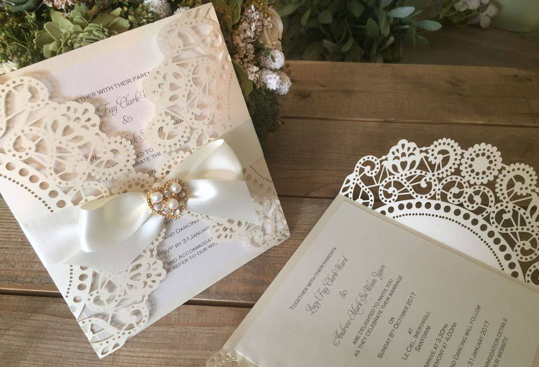Ivory Laser Cut Vintage Wedding Invitation with Ribbon
