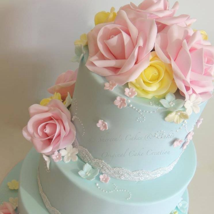 Flower Wedding Cake roses pink yellow blue lace pearls