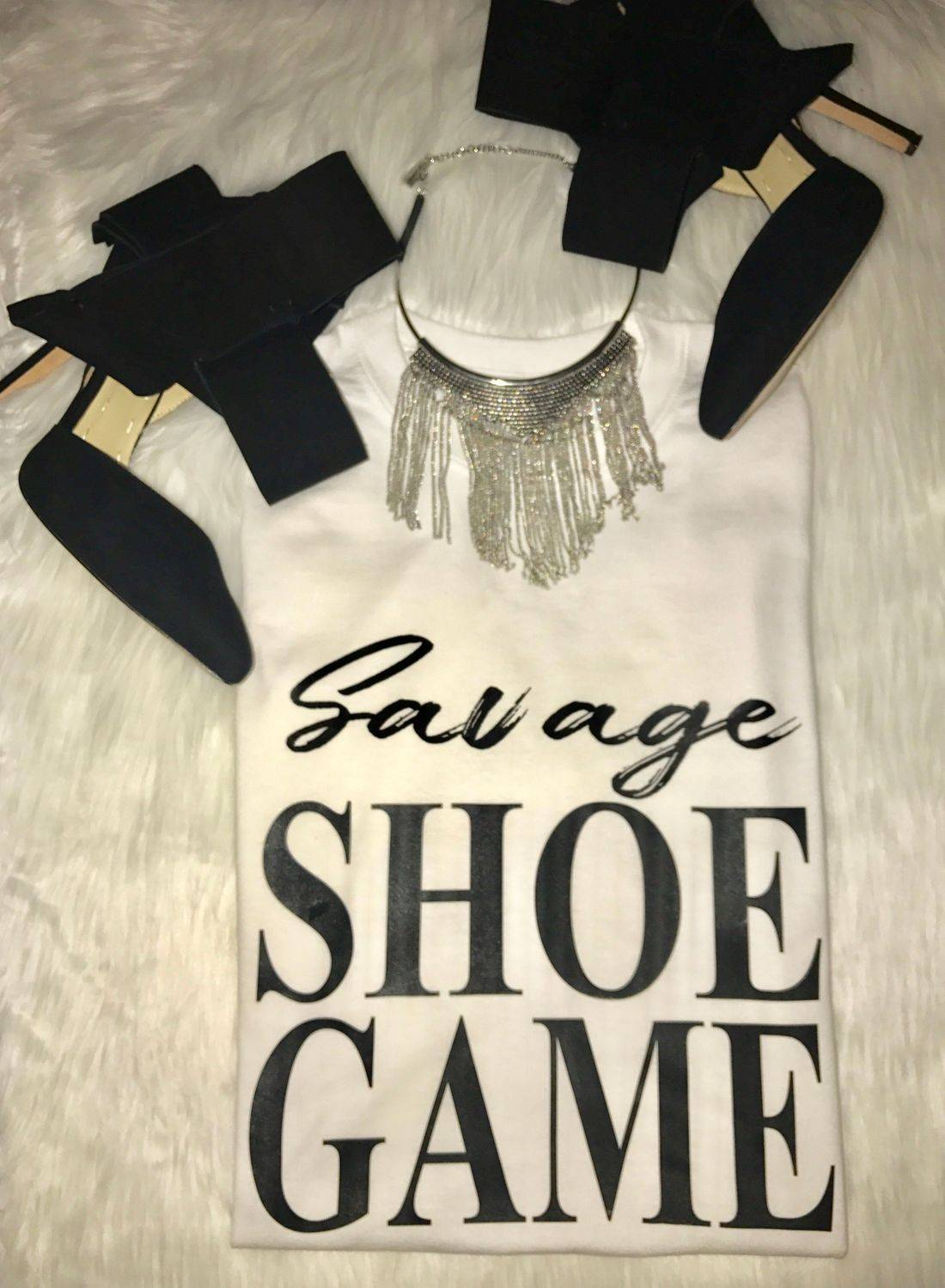 t-shirt, tees, shoes, heels, savage, bows