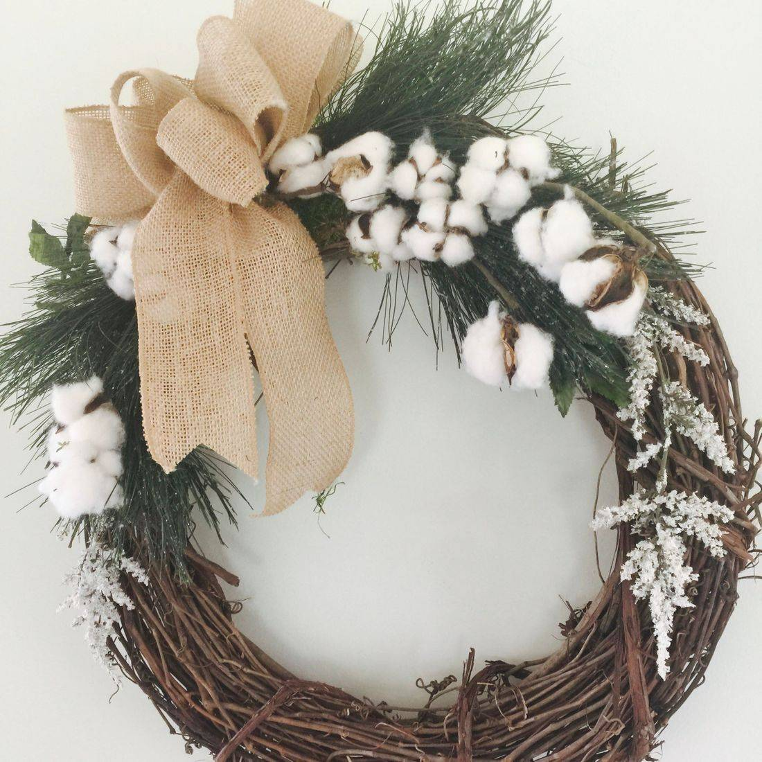 cotton boll Christmas wreath