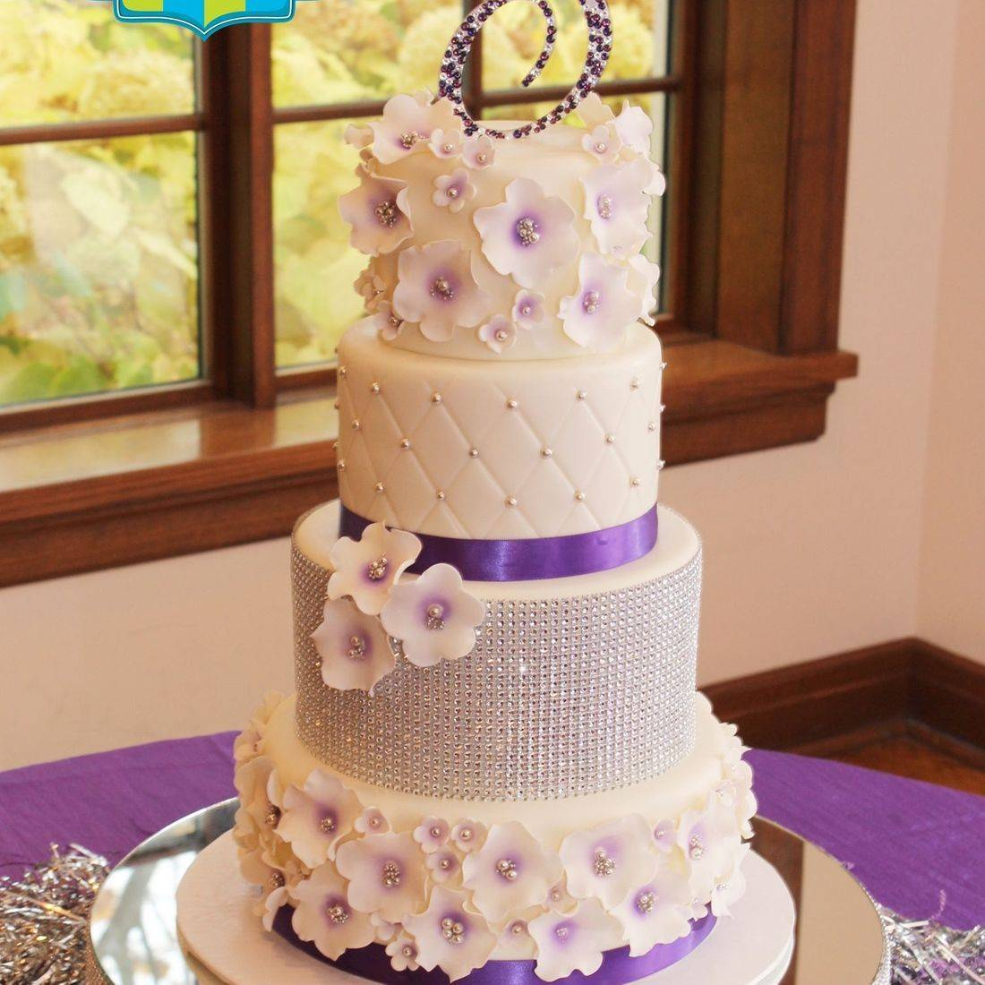 Custom Purple Silver Diamond Wedding Cake  Milwaukee