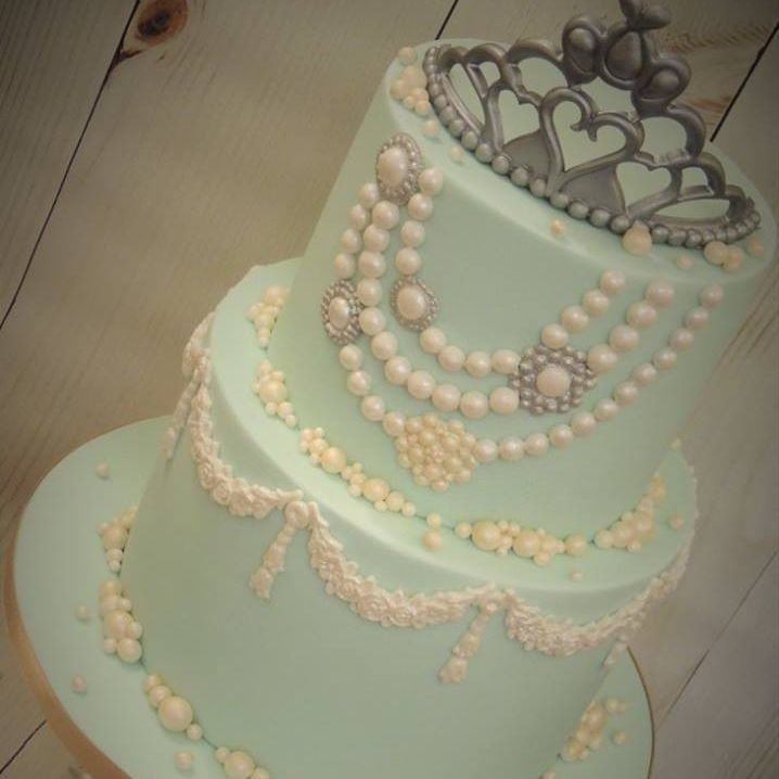 Tiffany Pearls Flower Swag Champagne Bubbles Birthday Cake Blue Crown Diamante Buckles