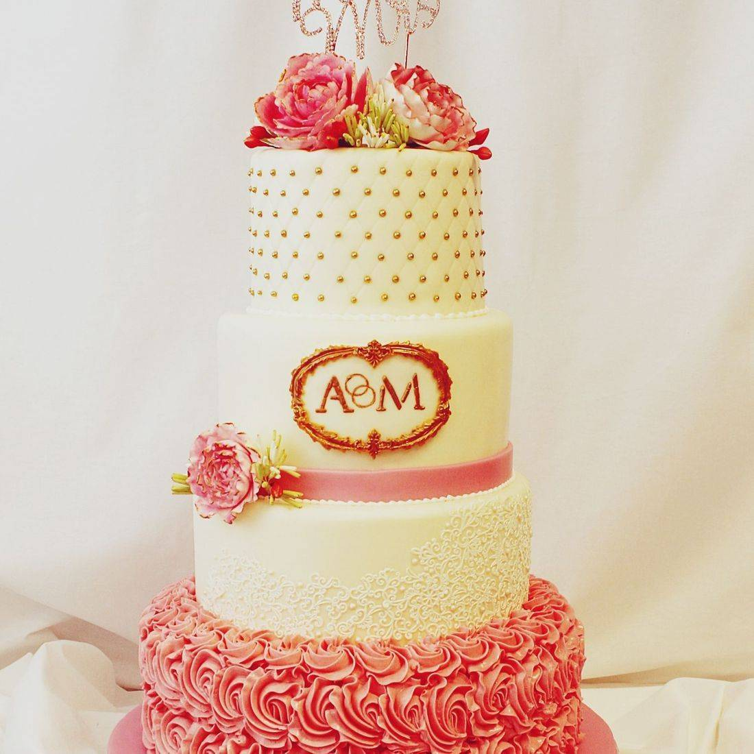 Custom Coral Gold Wedding Cake  Milwaukee