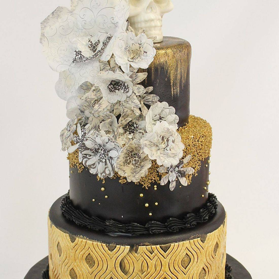 Custom  Gold Black Halloween  Cake  Milwaukee