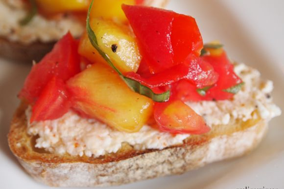 This is our cajun peach and tomato crostini