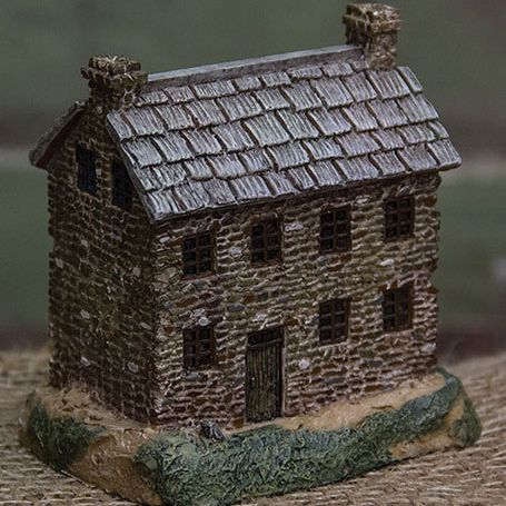 primitive resin lighted house