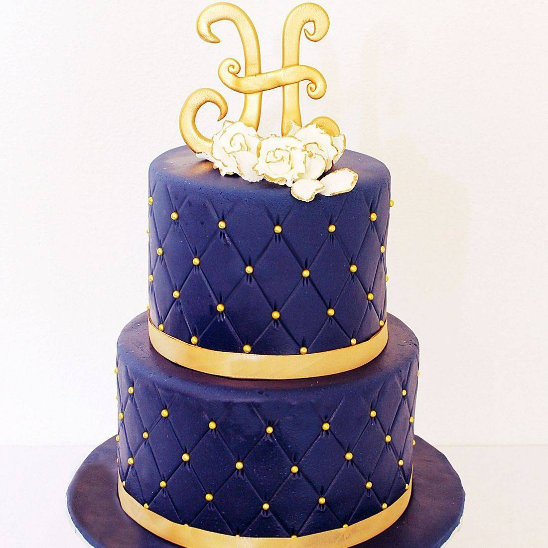 Custom Navy gold Wedding  Cake Milwaukee