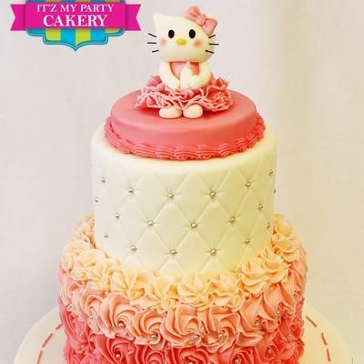 Custom Hello Kitty Rosettes Cake Milwaukee