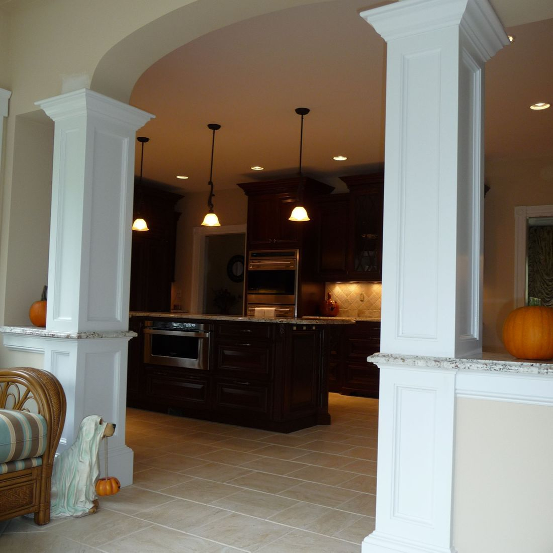 custom kitchen archway with columns