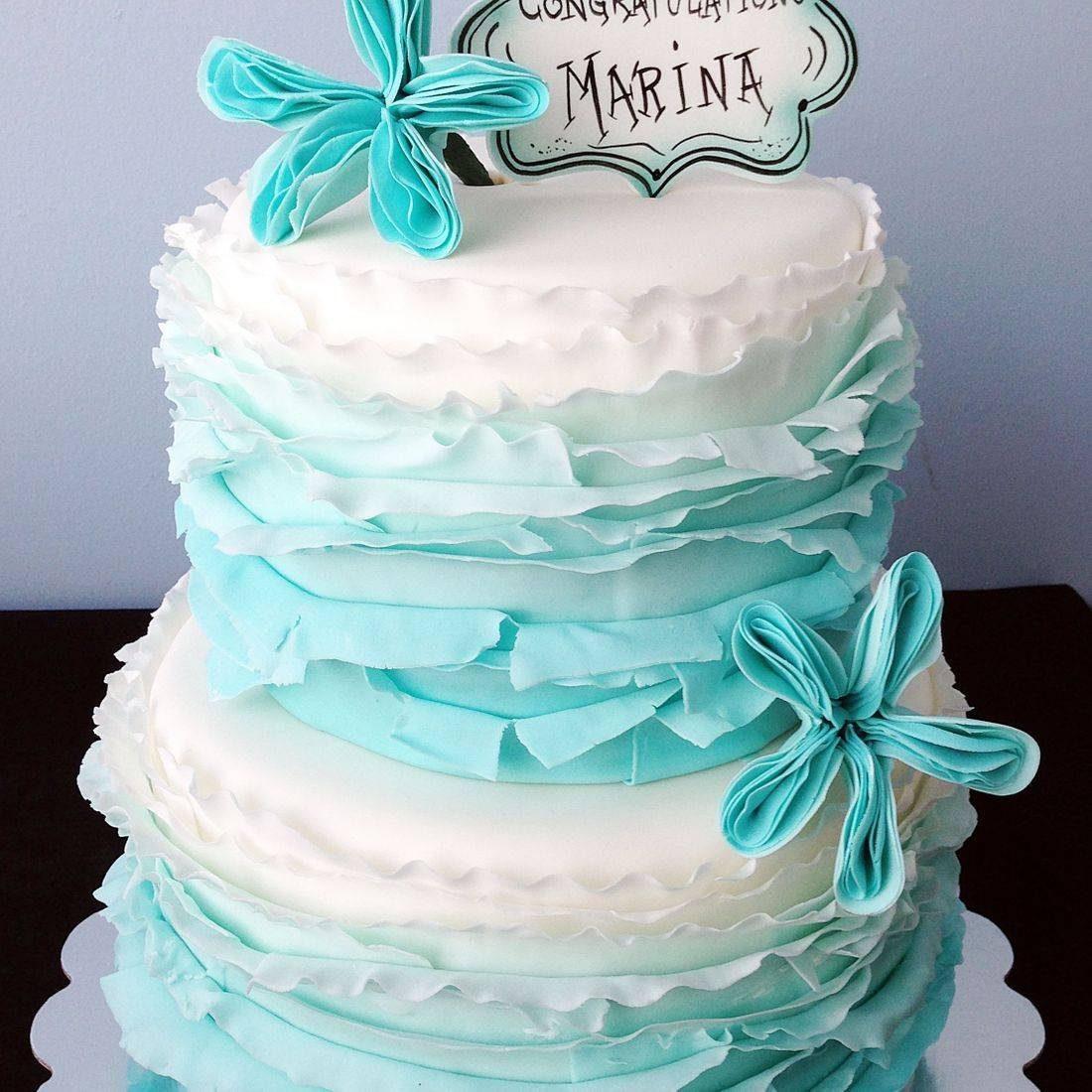 Custom  Blue Ombre Ruffle Cake  Milwaukee