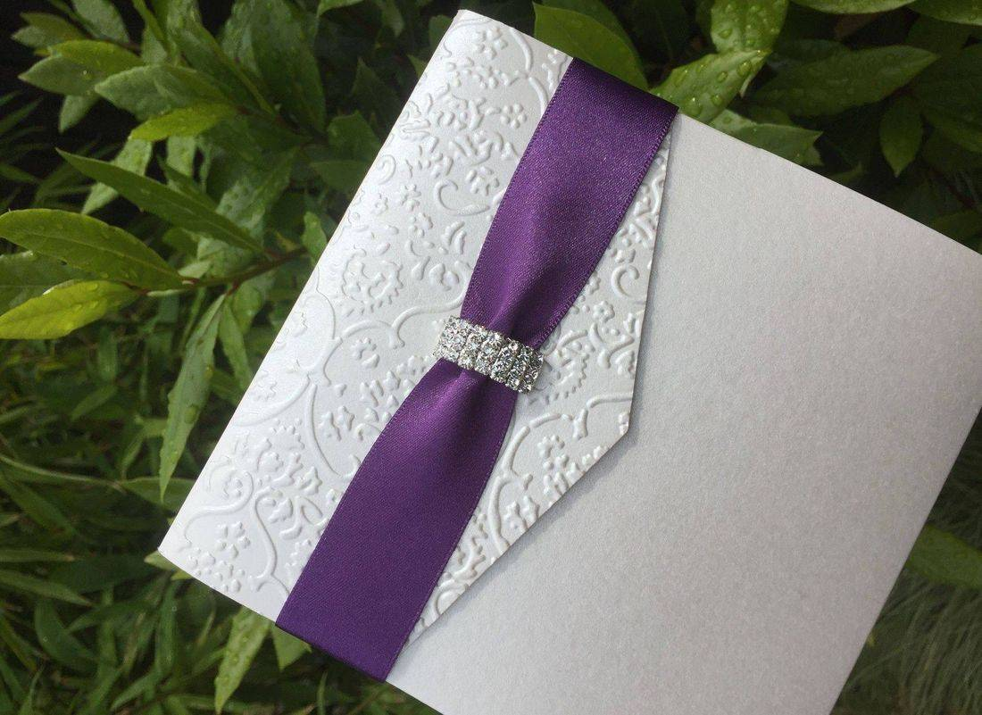 Luxury Damask Embossed Wedding Invitations with Crystal