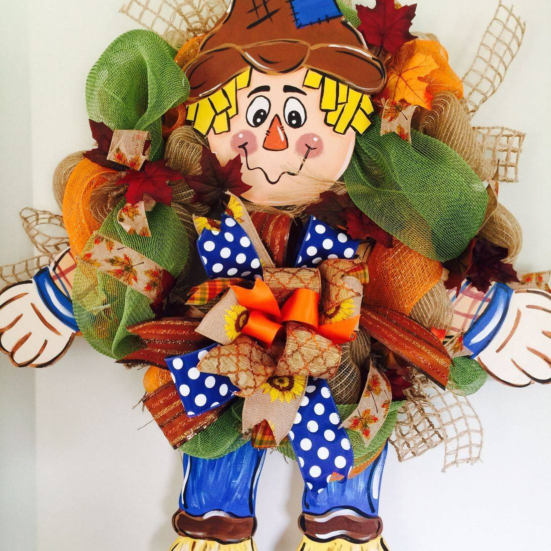 Wood Scarecrow Mesh  Wreath